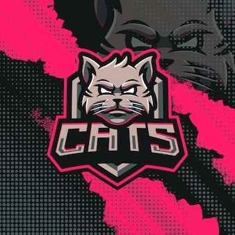 Ilustração do design do logotipo do mascote dos gatos