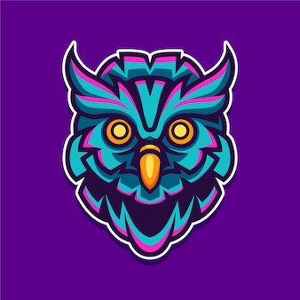 Ilustração do design do logotipo do personagem mascote da coruja