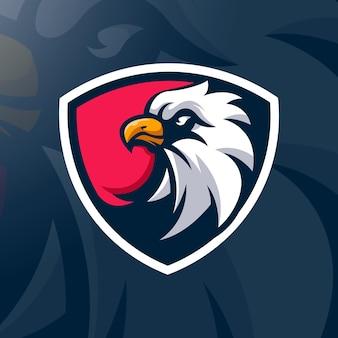 Ilustração do design do logotipo eagle em escudo para equipes de esportes e jogos