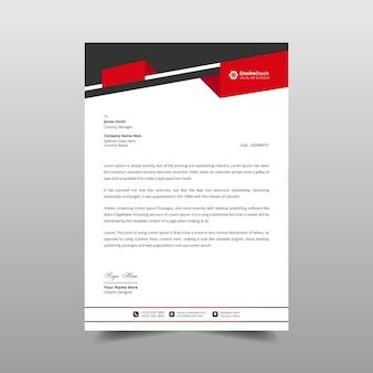 Ilustração do design do modelo vermelho e preto do papel timbrado comercial