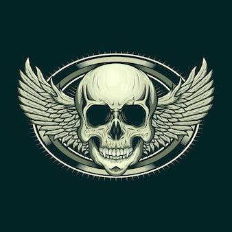 Ilustração do design realista da cabeça e das asas do crânio