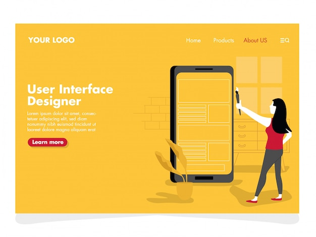 Ilustração do designer de interface do usuário para a página de destino