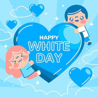 Ilustração do dia branco com coração e pessoas