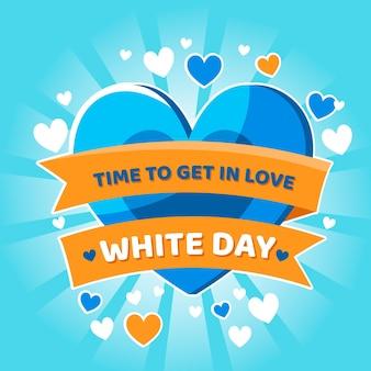 Ilustração do dia branco com coração