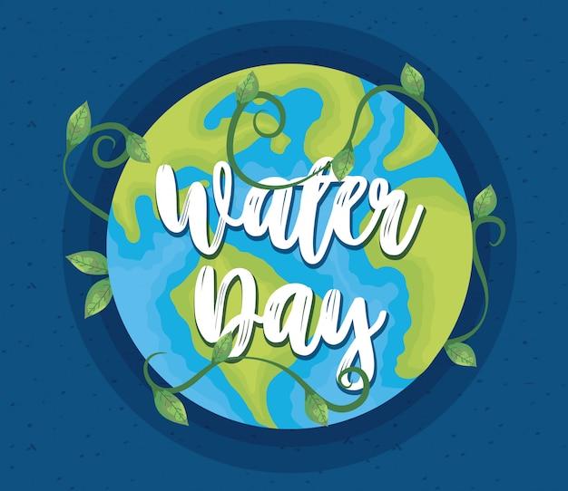Ilustração do dia da água com o planeta terra do mundo