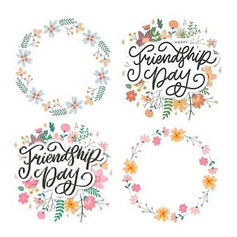 Ilustração do dia da amizade com texto e elementos para celebrar as flores do dia da amizade