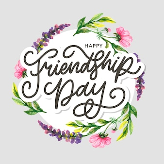 Ilustração do dia da amizade com texto e elementos para comemorar o dia da amizade 2020