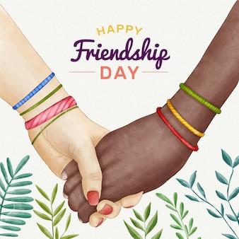 Ilustração do dia da amizade internacional em aquarela pintada à mão
