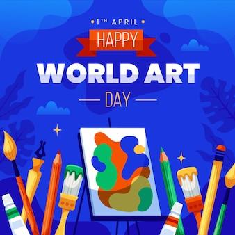 Ilustração do dia da arte do mundo plano