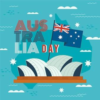 Ilustração do dia da austrália com design plano e ópera de sydney