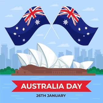 Ilustração do dia da austrália plana com bandeiras