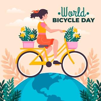 Ilustração do dia da bicicleta no mundo plano orgânico