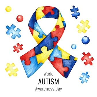 Ilustração do dia da conscientização do autismo em aquarela com peças de quebra-cabeça
