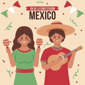 Ilustração do dia da constituição do méxico com pessoas comemorando