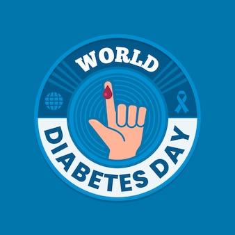 Ilustração do dia da diabetes no mundo plano com texto