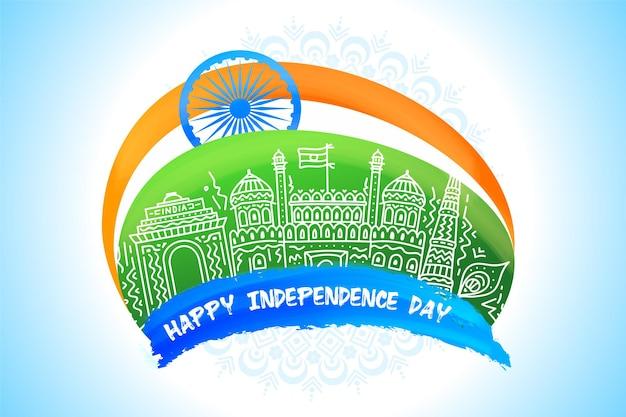Ilustração do dia da independência com monumentos e fundo tricolor com roda de ashoka