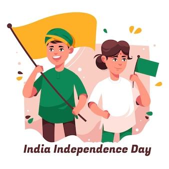 Ilustração do dia da independência da índia plana