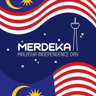 Ilustração do dia da independência da malásia evento