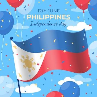 Ilustração do dia da independência das filipinas plana
