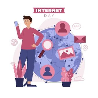 Ilustração do dia da internet plana
