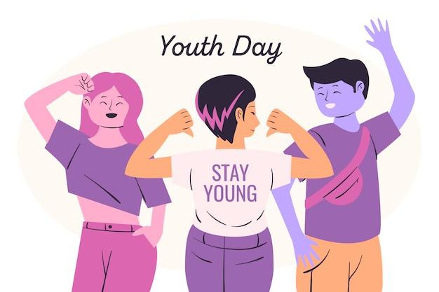 Ilustração do dia da juventude com indivíduos