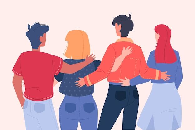 Ilustração do dia da juventude com pessoas abraçando juntos