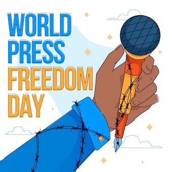 Ilustração do dia da liberdade de imprensa do mundo plano