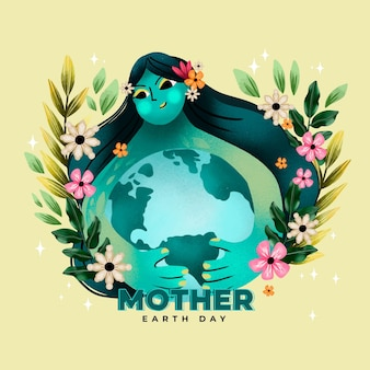 Ilustração do dia da mãe terra em aquarela