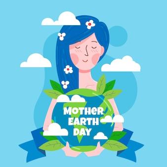 Ilustração do dia da mãe terra plana