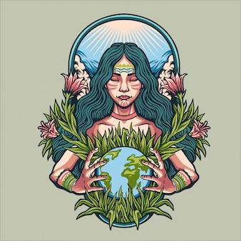 Ilustração do dia da mãe terra
