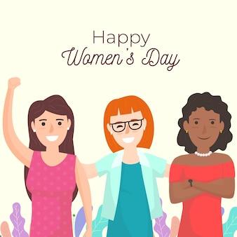 Ilustração do dia da mulher do grupo de mulheres