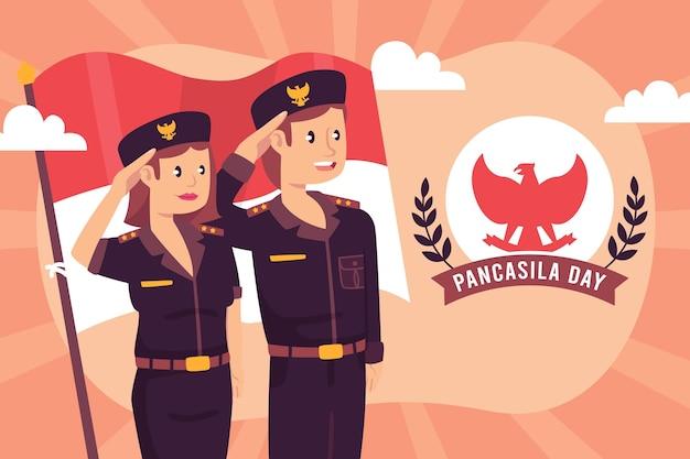 Ilustração do dia da pancasila plana