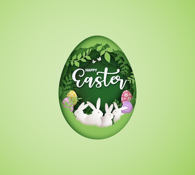 Ilustração do dia da páscoa com ovo e coelho, arte em papel e estilo de artesanato digital.