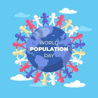 Ilustração do dia da população do mundo plano