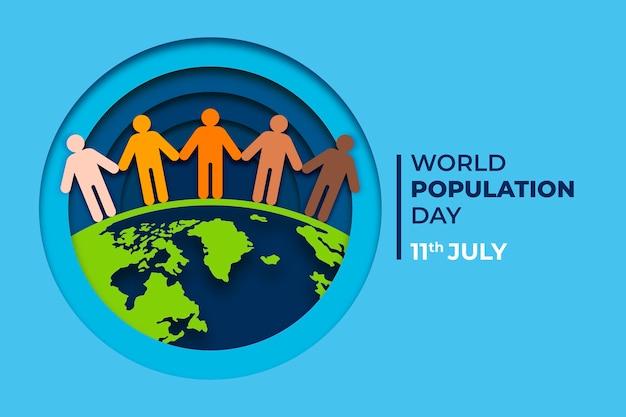 Ilustração do dia da população mundial em estilo jornal