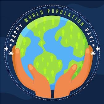 Ilustração do dia da população mundial plana orgânica