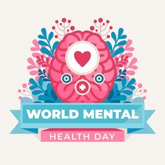 Ilustração do dia da saúde mental no mundo plano