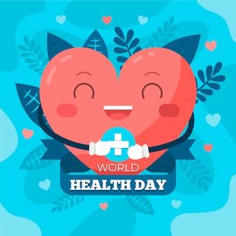 Ilustração do dia da saúde no mundo plano