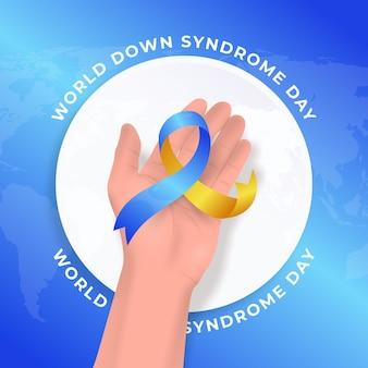 Ilustração do dia da síndrome de down do mundo realista com a mão segurando uma fita