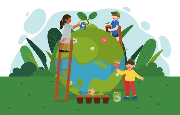 Ilustração do dia da terra com menino e menina sorridente regando para plantar floresta e pintando