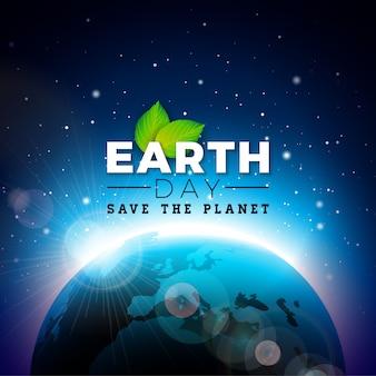 Ilustração do dia da terra com o planeta e a folha verde.