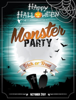 Ilustração do dia das bruxas em um tema do partido monster com lua e morcegos.