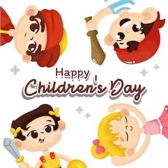 Ilustração do dia das crianças com caráter de crianças felizes