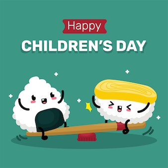 Ilustração do dia das crianças com personagem de sushi fofo