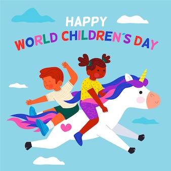 Ilustração do dia das crianças do mundo plano