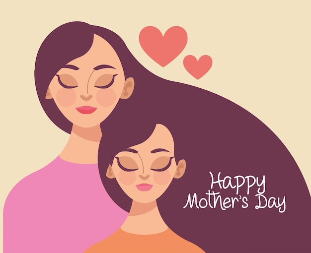 Ilustração do dia das mães com mãe e filhas