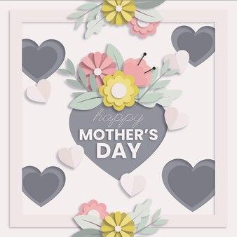 Ilustração do dia das mães em estilo de papel