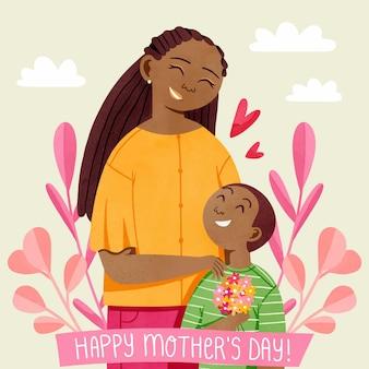 Ilustração do dia das mães pintada à mão em aquarela