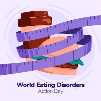 Ilustração do dia de ação de transtornos alimentares do mundo plano orgânico