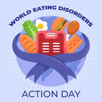 Ilustração do dia de ação dos transtornos alimentares do mundo dos desenhos animados